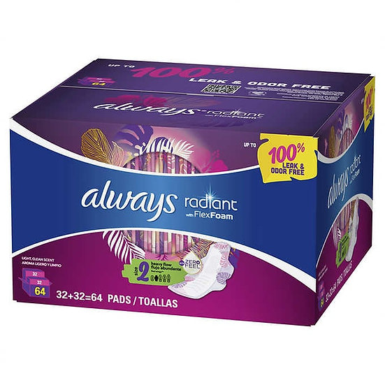 always Radiant With FlexFoam Pads Size 2, 64-count