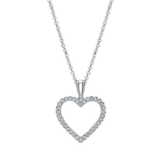 Round Brilliant 0.20 ctw VS2 Clarity, 14kt White Gold Heart Necklace