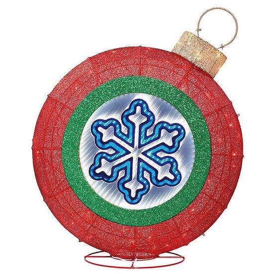 "32"" Snowflake Glitter Ornament w/LED Lights, Christmas"