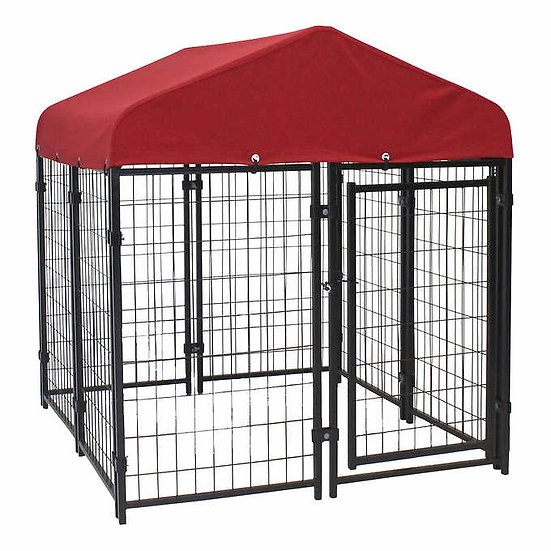 Lucky Dog Pet Resort Kit 4'x 4' with Sunbrella Roof Cover