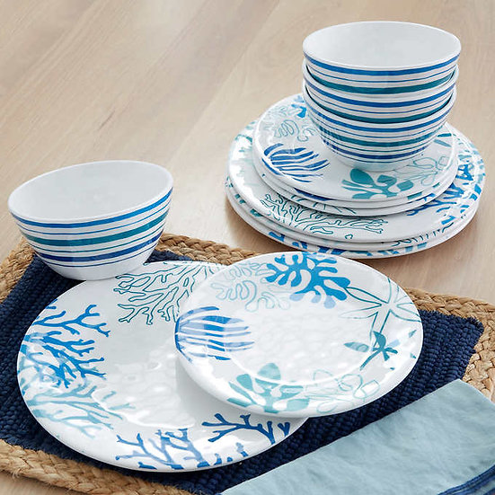 Baum Coastline 12-Piece Melamine Dinnerware Set