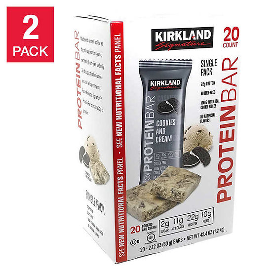 Kirkland Signature Protein Bars, Cookies and Cream, 20-count, 2-pack