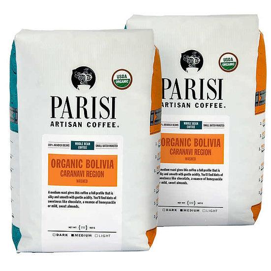 Parisi Artisan Coffee Bolivian Organic Blend Whole Bean, 2 lb., 2-pack