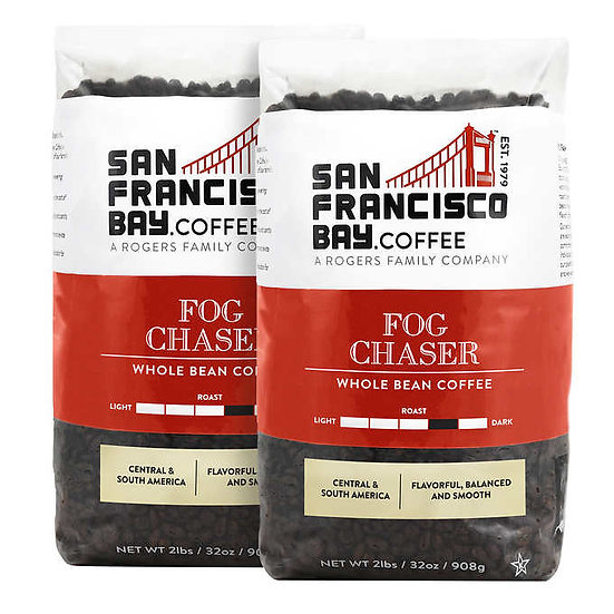San Francisco Bay Fog Chaser Whole Bean Coffee 2 lb, 2-pack