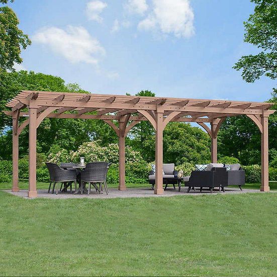 Yardistry's 12' x 24' Cedar Pergola with Profiled Beam and Trellis Ends