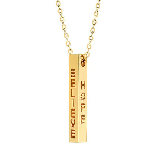 14kt Yellow Gold Engraved Bar Necklace