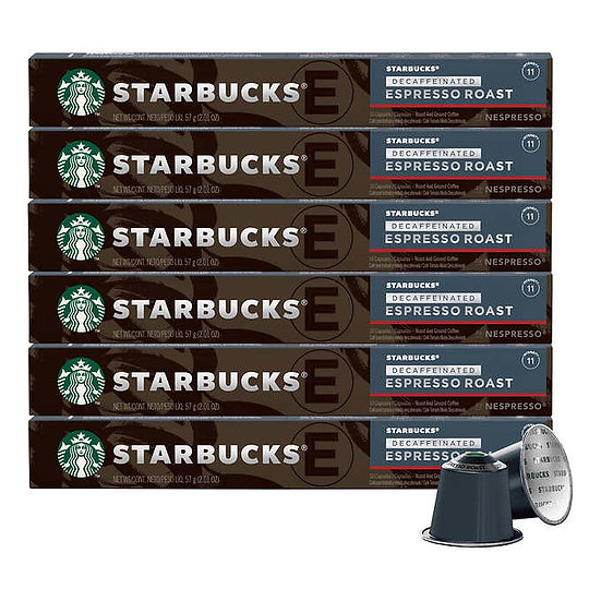 Starbucks by Nespresso DeCaf Espresso Roast Capsules, 60 Count