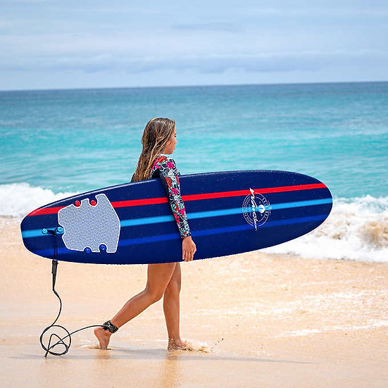 Wavestorm 8ft Classic Surfboard Navy Comp Stripe