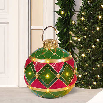 Oversized Ornament with LED Lights, Diamond Pattern, Christmas