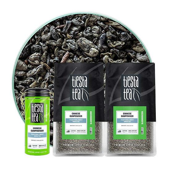 Tiesta Tea Chinese Gunpowder Tea 2 - 1lb bags with 5 oz Tin