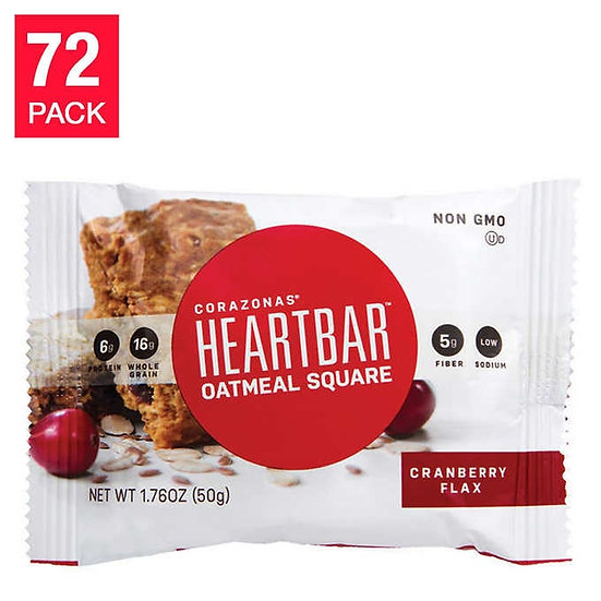 Corazonas HeartBar Cranberry Flax Oatmeal Square, 72-pack