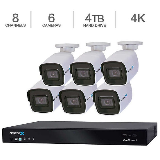 AvertX 8-Channel 4K Cloud Security System w/4TB HDD & 6 4K Bullet Cameras