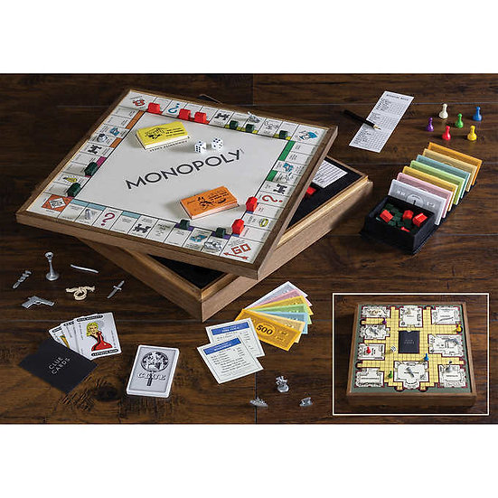 Monopoly and Clue 2-in-1 Deluxe Vintage Wood Game Set
