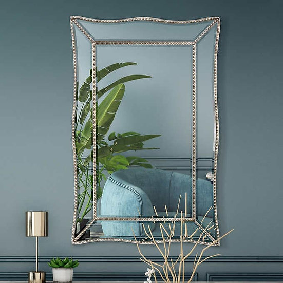 Beaded Champagne Silver Scalloped Wall Mirror