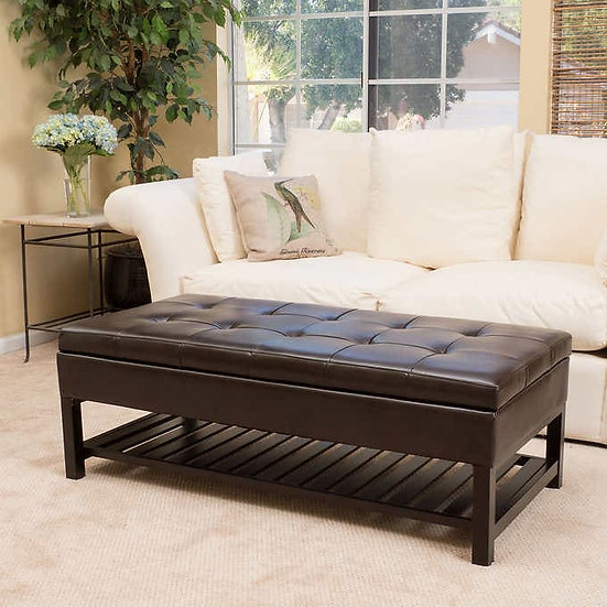 Fowler Bonded Leather Storage Bench
