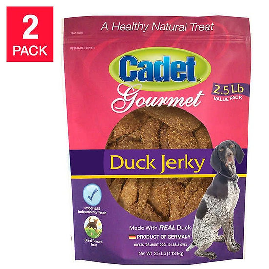 Cadet Natural Duck Jerky Dog Treats 2.5 lbs, 2-pack