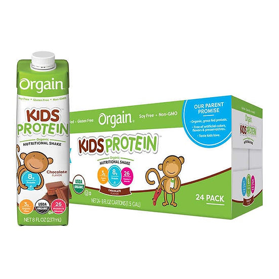 Orgain USDA Organic Kids Nutritional Protein Shake 8 fl oz, 24-count