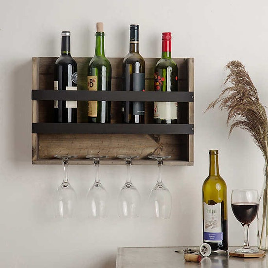 Wooden Wall-Mounted 4-glass Wine Rack, Model  41313