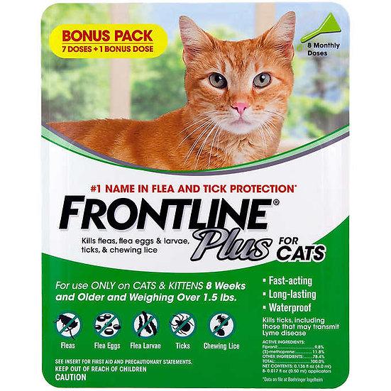 Frontline Plus Flea and Tick Cat Treatment, 7+1 Doses