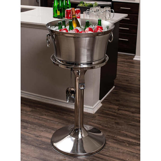 Stainless Steel Beverage Tub with Stand, Bottle Opener & Scoop