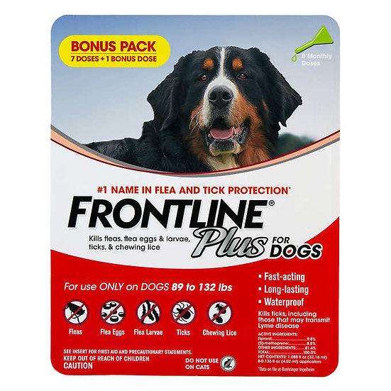 Frontline Plus Flea and Tick Dog Treatment 89-132 lb, 7+1 Doses