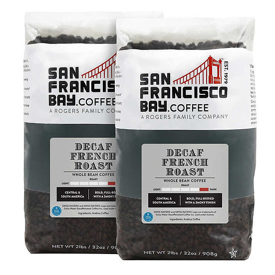 San Francisco Bay Decaf French Roast Whole Bean Coffee 2 lb, 2-pack