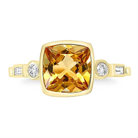 Citrine and Diamond 14kt Yellow Gold Ring