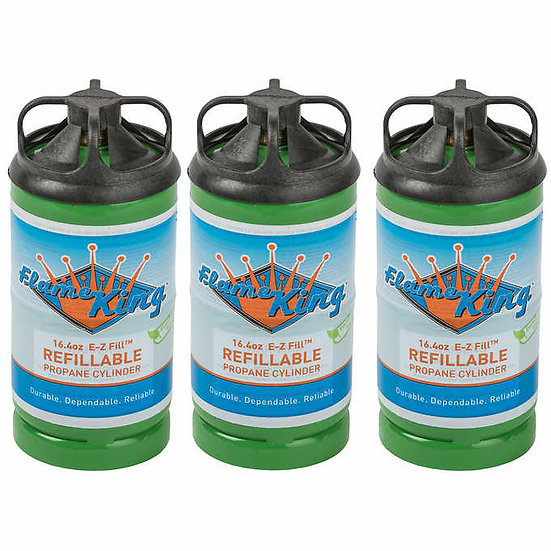 Flame King Refillable 1 lb Empty Propane Cylinder Tank, 3-pack