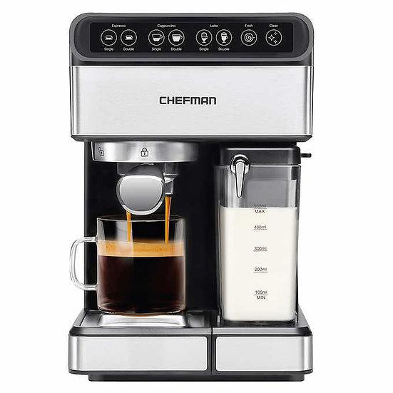 Chefman 6-in-1 Stainless Steel 15-Bar Pump Espresso Machine