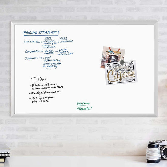 """Magnetic Dry Erase Board, 36"""" x 24"""" Silver Aluminum Frame"""
