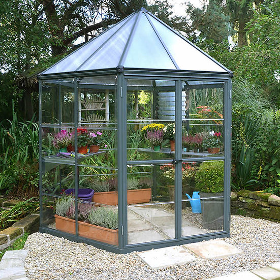 Palram Oasis Hexagonal Greenhouse, Rust Resistant Coated Aluminum Frame, 8' x 7'