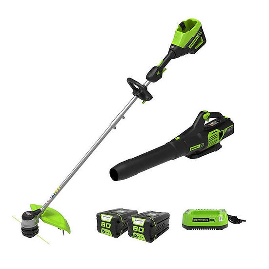 Greenworks 80V Trimmer Blower Combo With Two 2AH Batteries and Charger