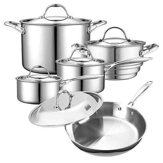 Cooks Standard Tri-Ply Clad Stainless Steel 10-piece Cookware Set