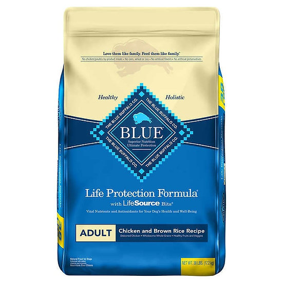 Blue Buffalo Adult Dog Food, Chicken and Brown Rice, 38 lbs