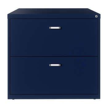 """Hirsh 30""""W 2-Drawer Lateral File Cabinet, Navy"""