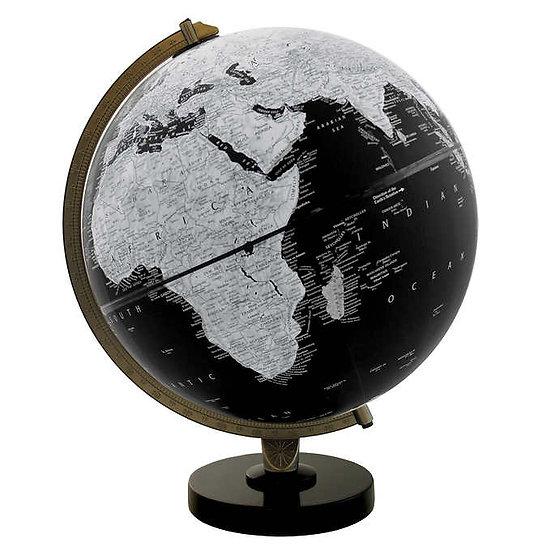 "Replogle 12"" Black and White Globe with Black Wood Base"