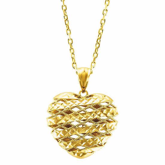14kt Yellow Gold Diamond Cut Heart Pendant