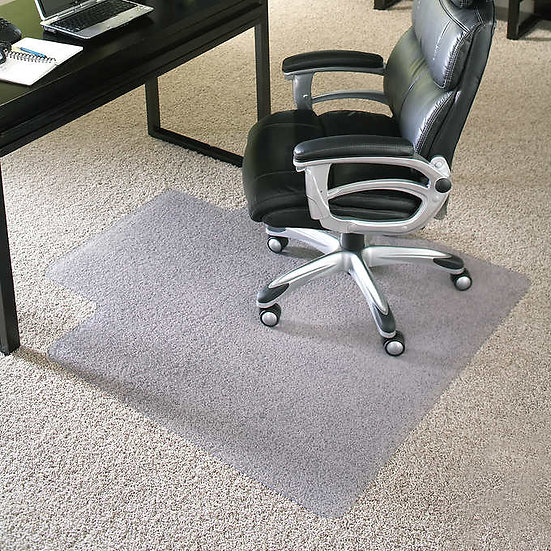 "ES Robbins Chair Mat for High Pile Carpet, 36"" x 48"" with Lip, Clear"