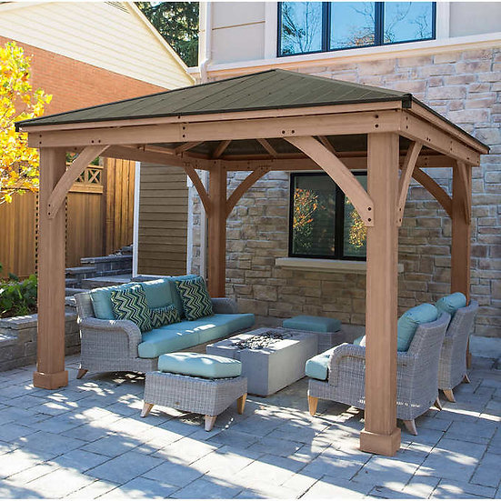 Yardistry Cedar Wood 12' x 12' Gazebo with Aluminum Roof
