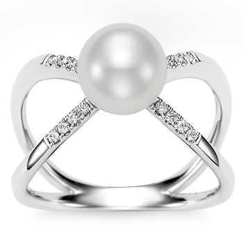 Freshwater 8mm Pearl & Diamond 14kt White Gold Ring