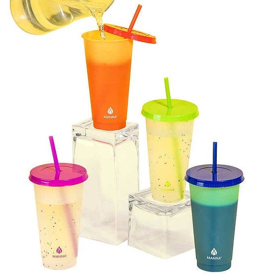 Manna Color Changing Confetti Plastic Tumblers, Set of 12