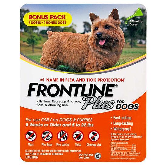 Frontline Plus Flea and Tick Dog Treatment 5-22 lb, 7+1 Doses