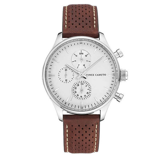 Vince Camuto Brown Leather Strap Men's Watch