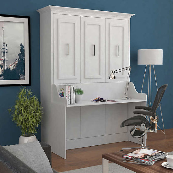 Bed & Room Porter Full Portrait Wall Bed with Desk in White