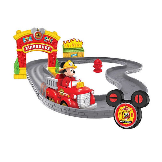 Disney Mickey's Firetruck and Firehouse RC and Track Set