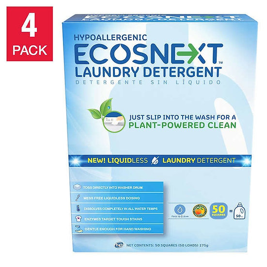 ECOSNext HE Liquidless Laundry Detergent Squares, Free & Clear, 50-count, 4-pack