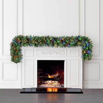 9' Pre-Lit LED Greenery Garland, Christmas, Holiday
