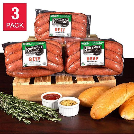 Kiolbassa Smoked Meats Organic Smoked Beef Sausage 2.1 lbs, 3-pack