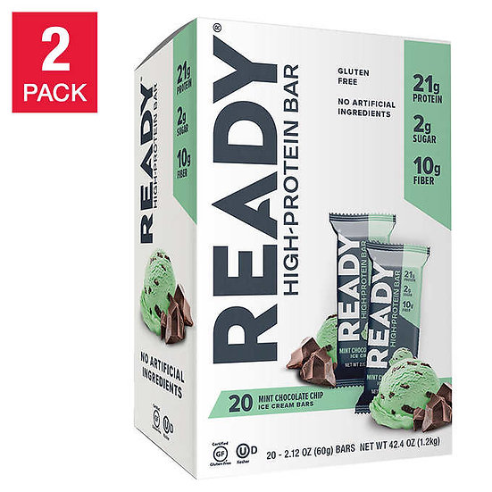 Ready Nutrition Protein Bars, Mint Chocolate Chip Ice Cream, 20-count, 2-pack