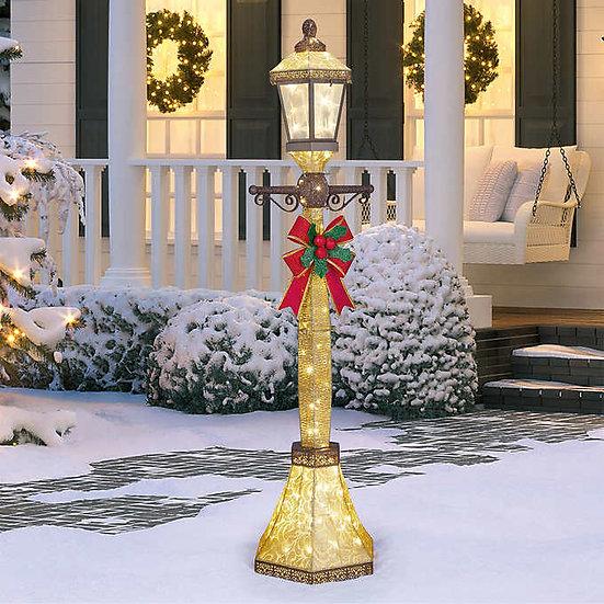 6' Lamp Post with LED Lights, Christmas